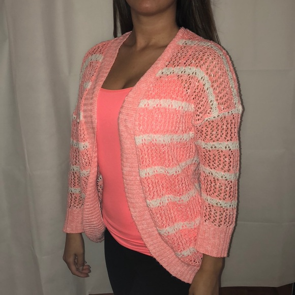 Pink Rose Sweaters - Coral Striped Cardigan